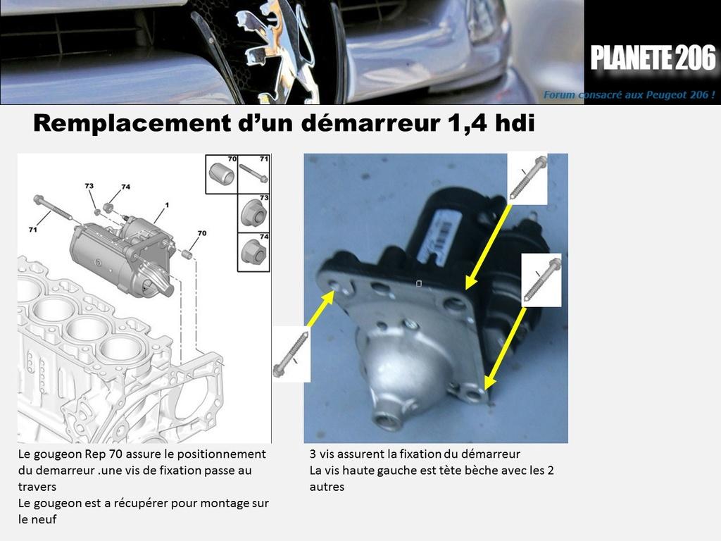 REMPLACEMENT DEMARREUR 206 1.4 Hdi  ( TUTO  en cours) Diapos11