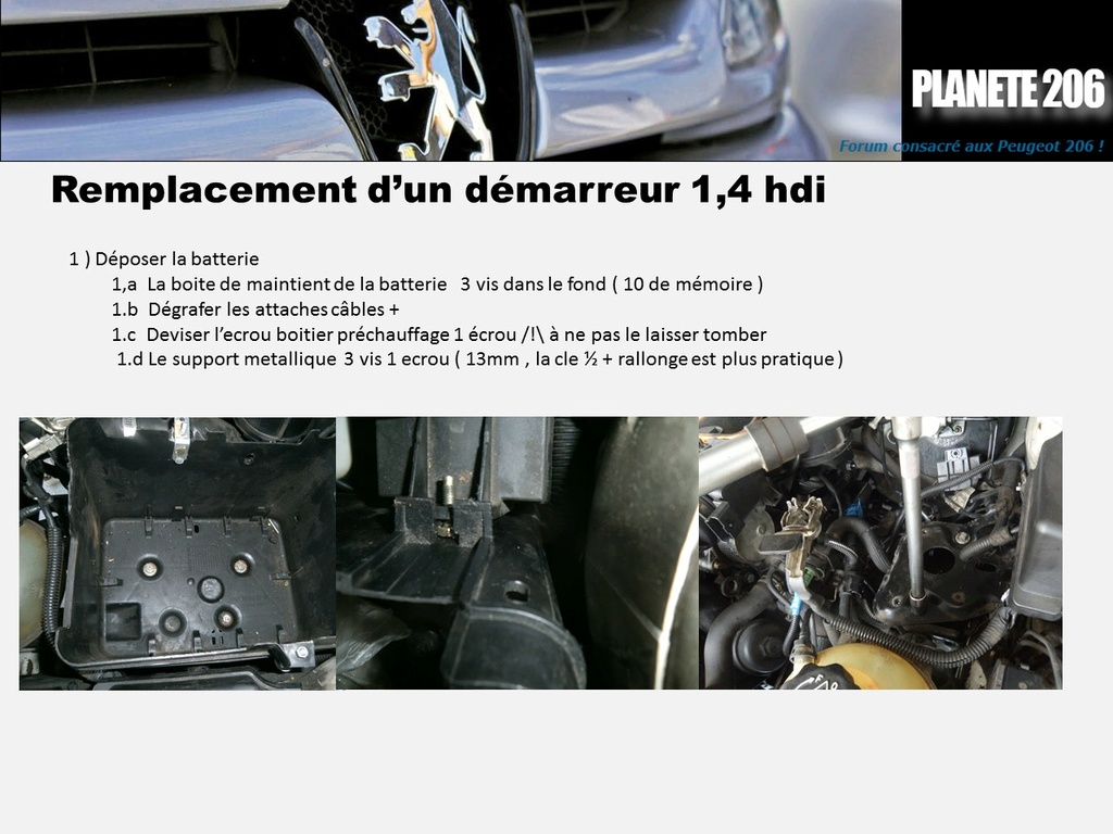 REMPLACEMENT DEMARREUR 206 1.4 Hdi  ( TUTO  en cours) Diapos12