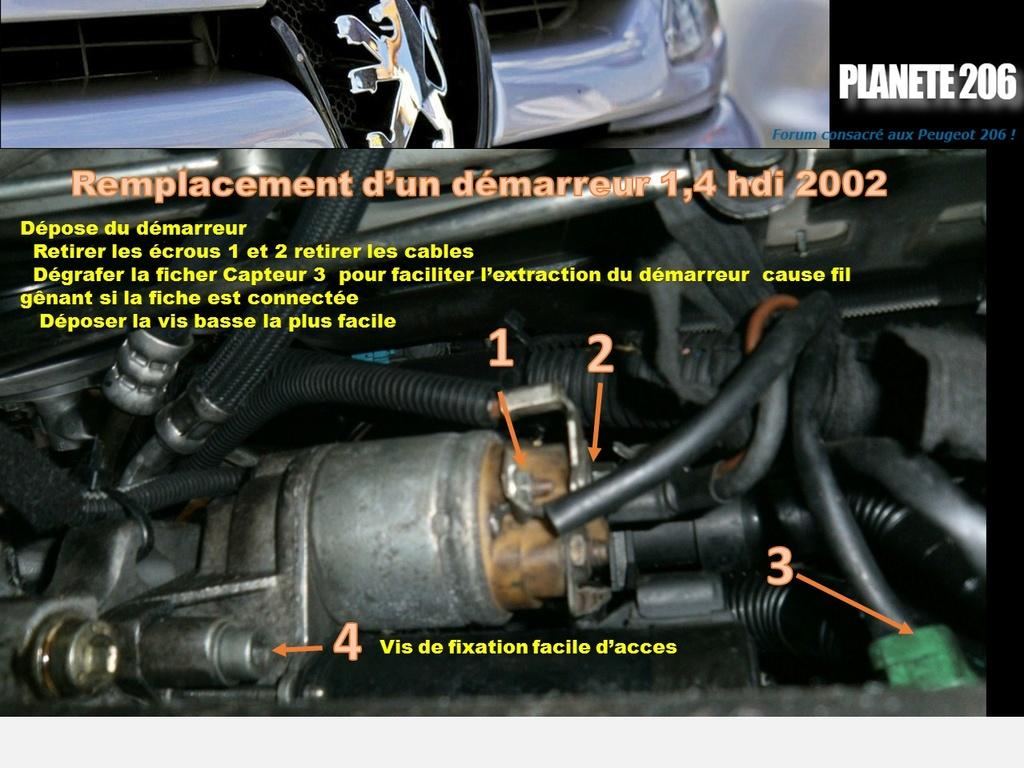 REMPLACEMENT DEMARREUR 206 1.4 Hdi  ( TUTO  en cours) Diapos14