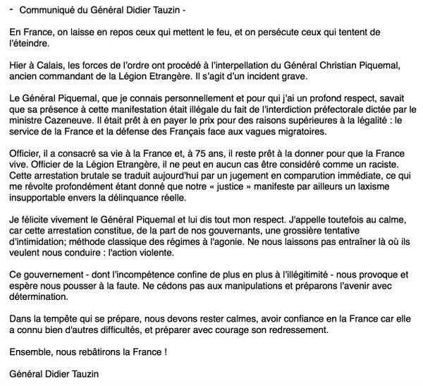 le général Piquemal sort du silence en venant à Calais malgré l'interdiction de la manifestation - arrestation du général Piquemal  - Page 4 A10