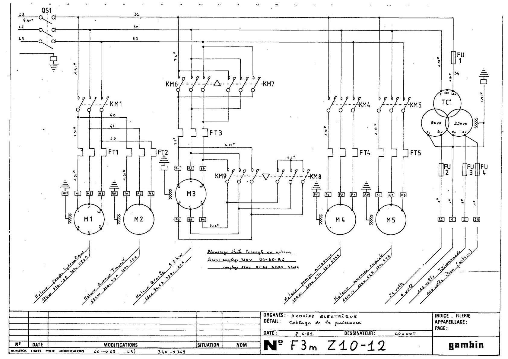 Gambin 3 M 1972r Schemat electric Uw6510
