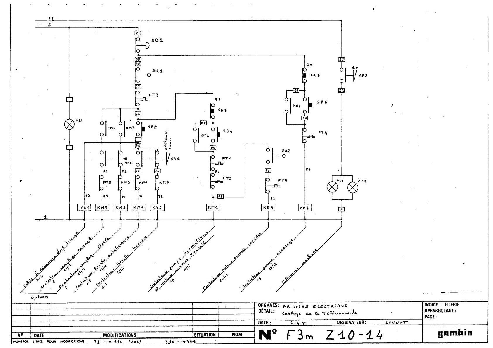 Gambin 3 M 1972r Schemat electric Uw6610