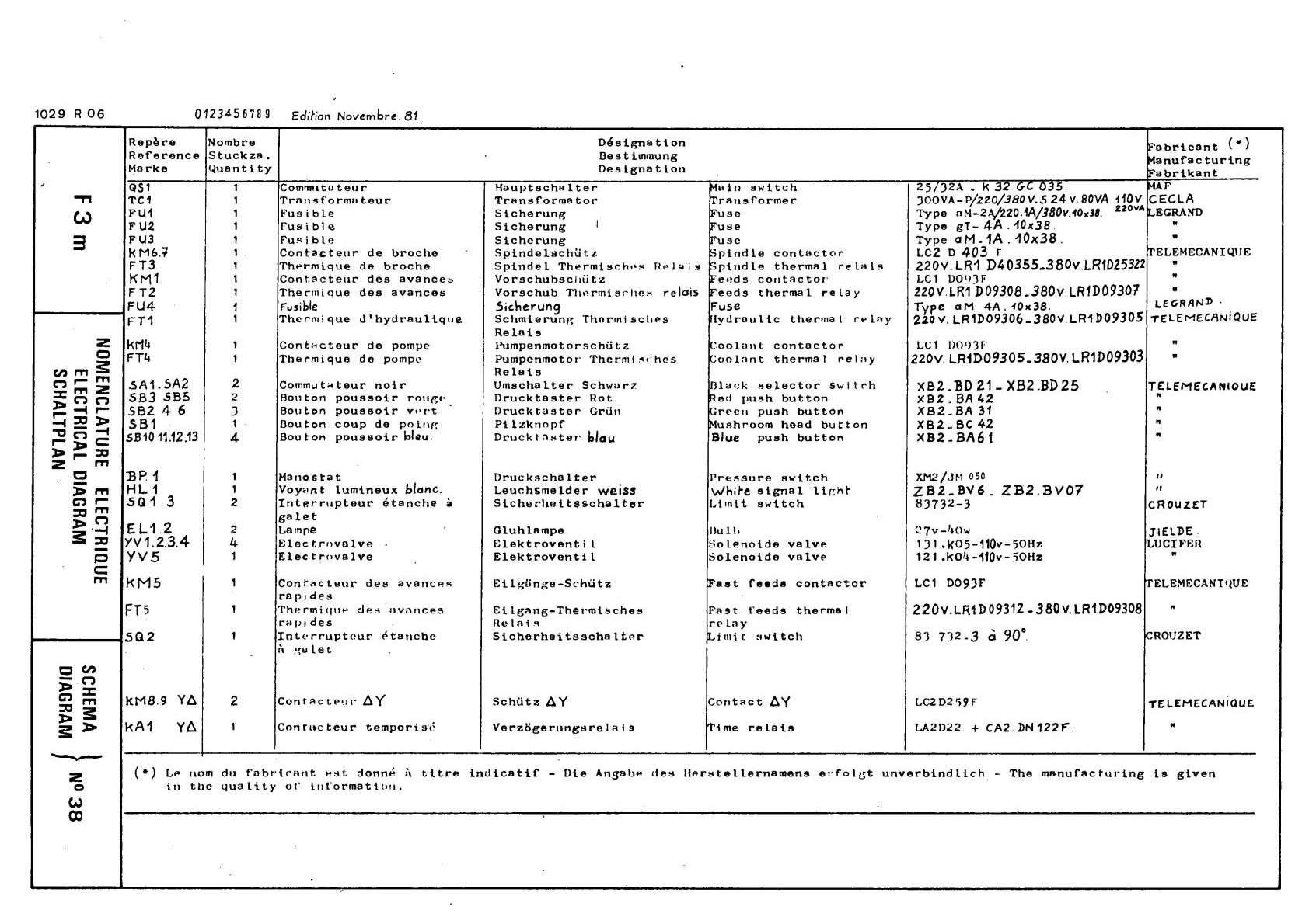Gambin 3 M 1972r Schemat electric Uw6710