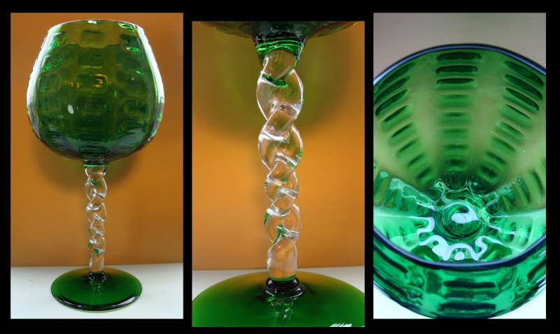 Large Green twisted foot glass vase. 412