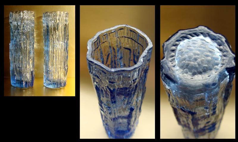 Pair of pale blue bark effect vases. 711