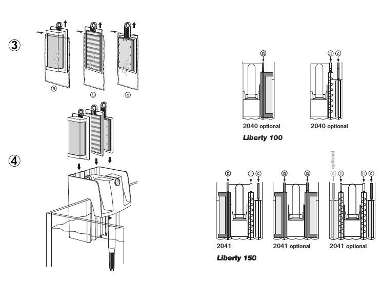 Filtre Eheim Liberty 150, axe du rotor et masses filtrantes Libert10