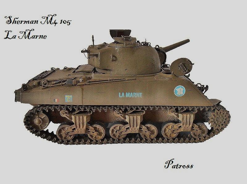 """Sherman M4 105 mm """" La Marne """" 2 eme DB Pat410"""