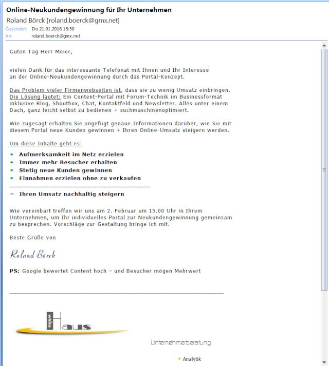 Das E-Mail-Anschreiben ist die Weiterführung des Dialogs E-mail10
