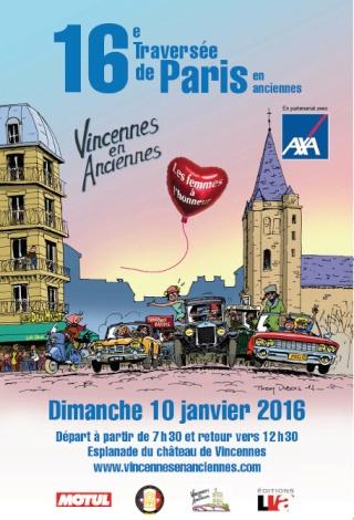 La Traversée de Paris en anciennes, 10 Janvier 2016. Affich11