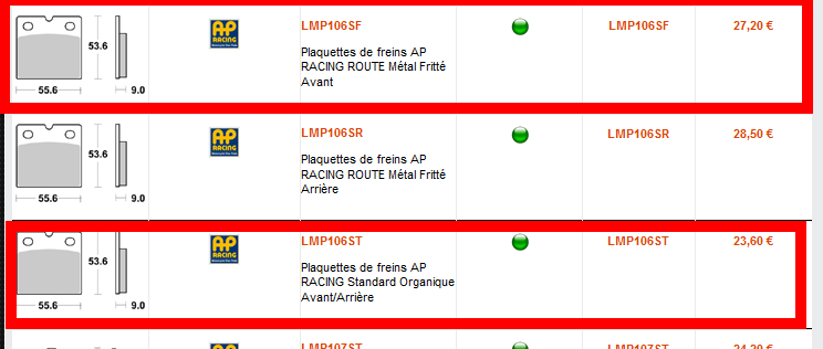 ref plaquette AP racing pour brembo PO8 Captur11