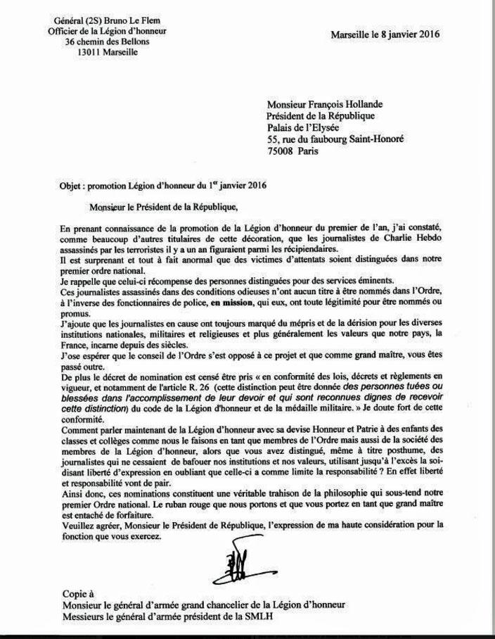 Légion d'honneur lettre au PR du général Le Flem Lettre10