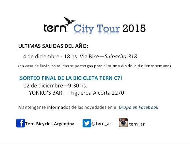 TERN CITY TOURS programados para el resto del año. Proxim10