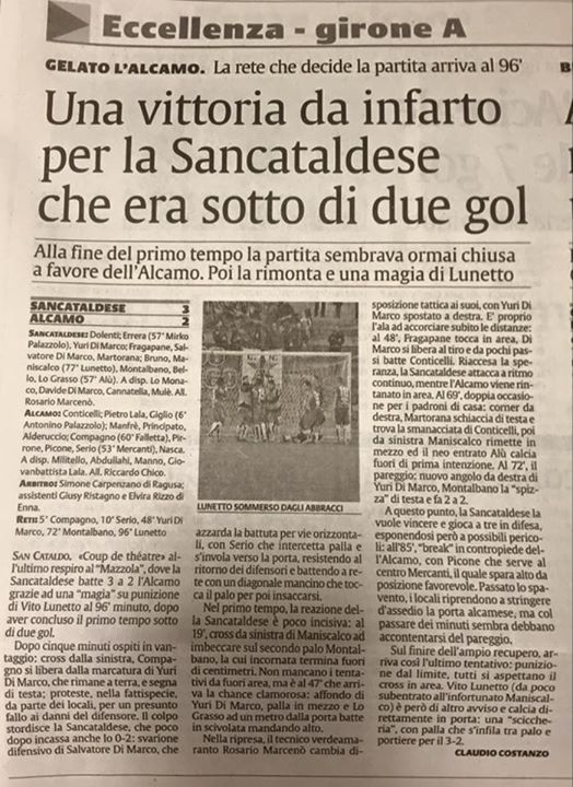 Campionato 12°giornata: Sancataldese - alba alcamo 3-2 12279110