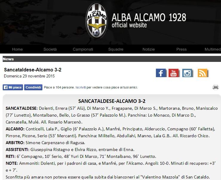 Campionato 12°giornata: Sancataldese - alba alcamo 3-2 Sancat12