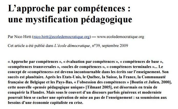 L'approche par compétences ou la négation du savoir Comp10