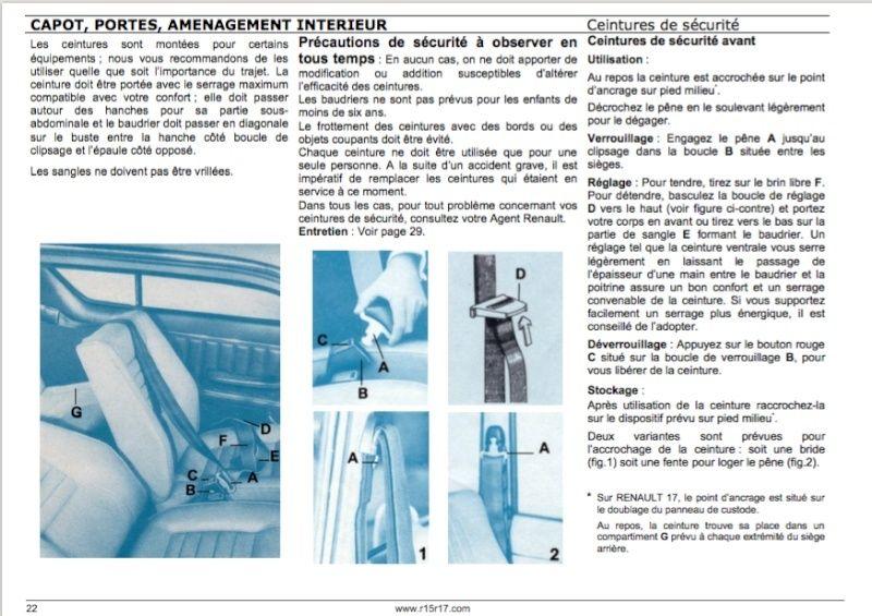 Position de l'enrouleur ceinture ar. Ceintu11