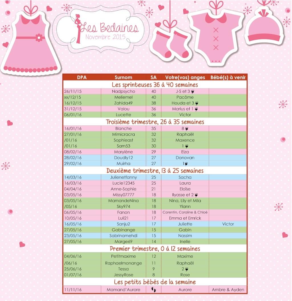 Tableau des bedaines couveuses du 23 au 29 novembre 2015  Novemb12