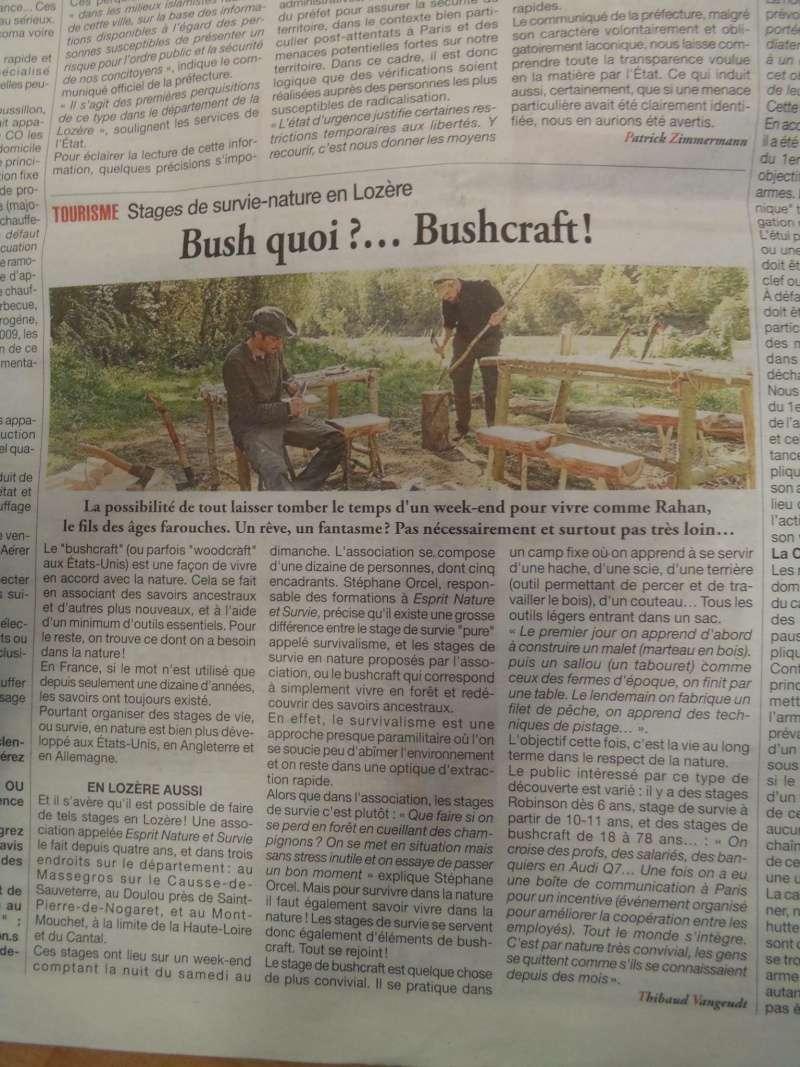 Article paru dans La Lozère: Bush quoi?... Bushcraft! Img_0411
