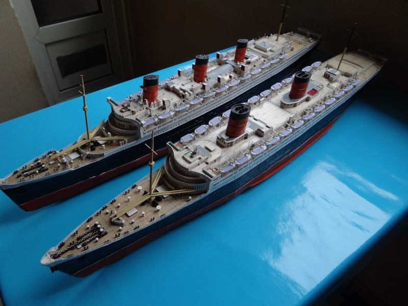 QUEEN MARY 1936 et QUEEN ELISABETH 1938 echelle 1/387° d'après plans US M13711