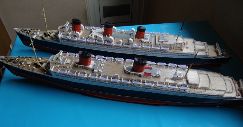 QUEEN MARY 1936 et QUEEN ELISABETH 1938 echelle 1/387° d'après plans US M13810