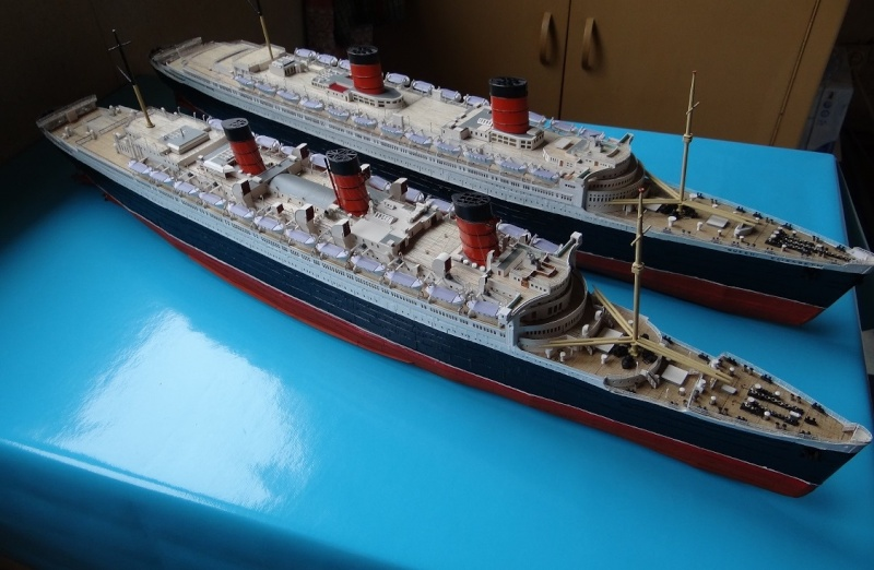 QUEEN MARY 1936 et QUEEN ELISABETH 1938 echelle 1/387° d'après plans US M13911