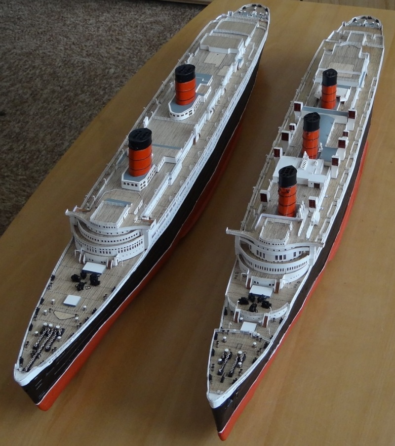QUEEN MARY 1936 et QUEEN ELISABETH 1938 echelle 1/387° d'après plans US M7210