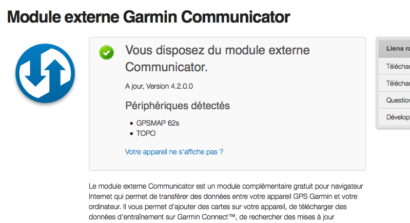 le module externe garmin communicator