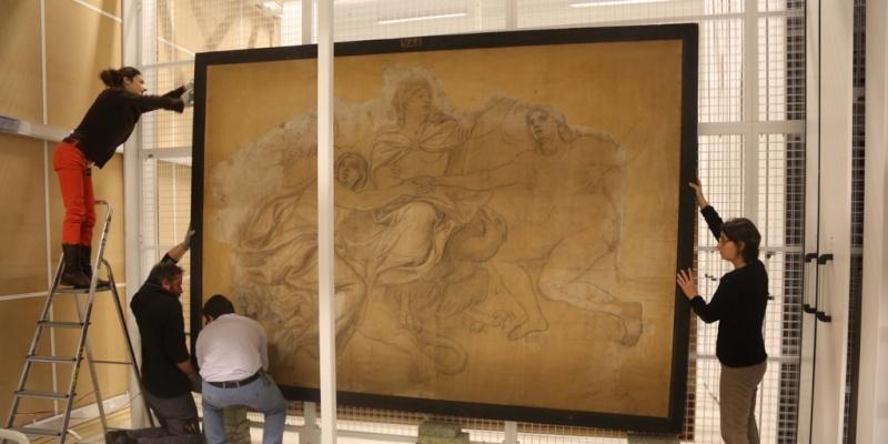 Restauration d'un carton de Le Brun au Louvre-Lens Cysivv10