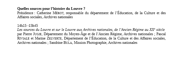 L'histoire des musées à la source: le Louvre et ses archives Prog210