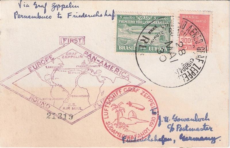 """nach - Südamerikafahrt 1930 (Rundfahrt-) Post nach Friedrichshafen"""" - Seite 6 Brasil10"""