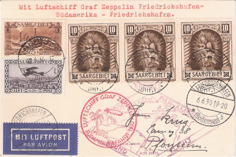 """nach - Südamerikafahrt 1930 (Rundfahrt-) Post nach Friedrichshafen"""" - Seite 6 Saar_r10"""