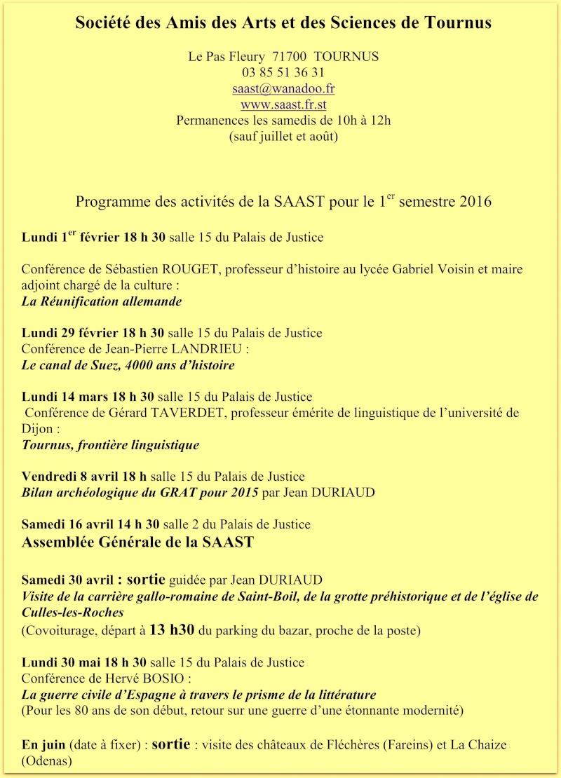 Programme des activités de la SAAST pour le 1er semestre 2016 121