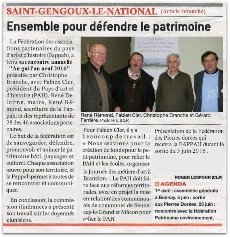 Article du Journal de Saône et Loire du jeudi 28 janvier 2016 Au gui l'an neuf 2016 Saint Gengoux le National  Fappah12
