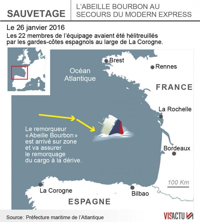 Le cargo 'Modern Express' en détresse au large de La Rochell Modern10