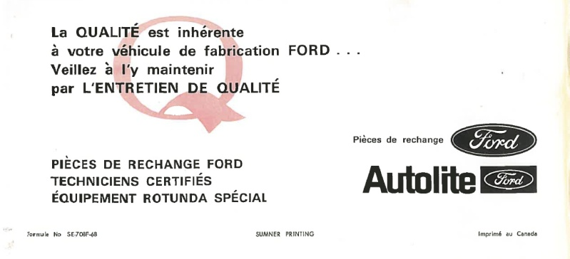 Manuel du propriétaire Mustang 1968 édition française Canada Nouvel23