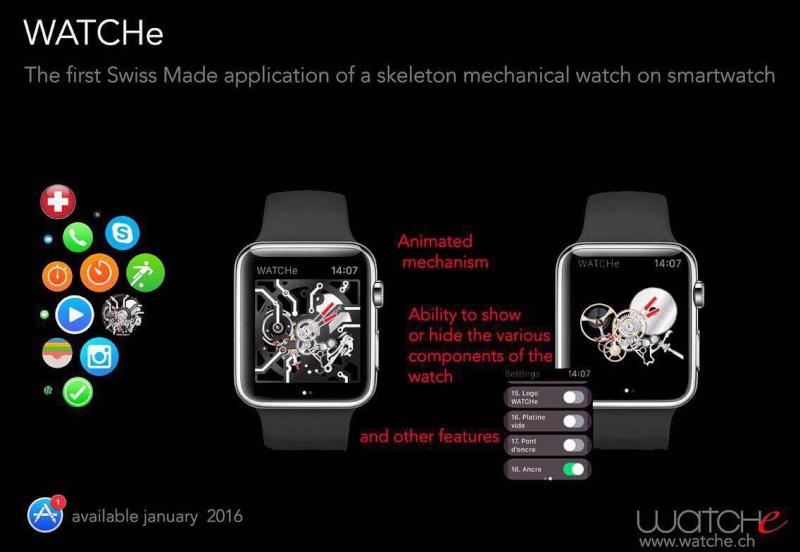 La première application Suisse made d'une montre squelette mécanique Smartwatc Watche10