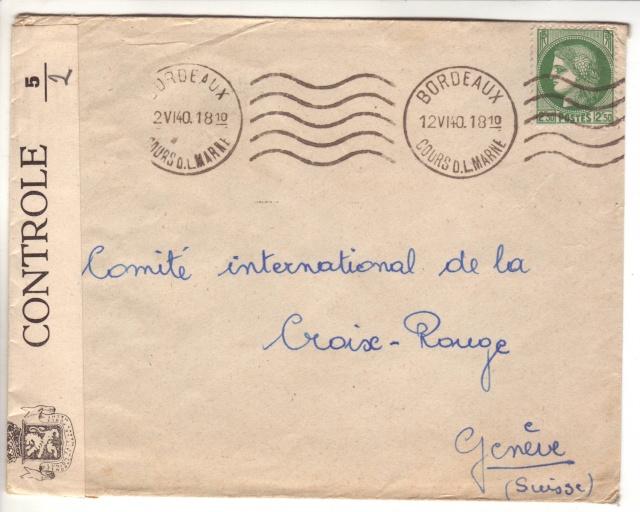 Bande de fermeture belge sur lettre de Bordeaux pour le CICR de Genève 1005810