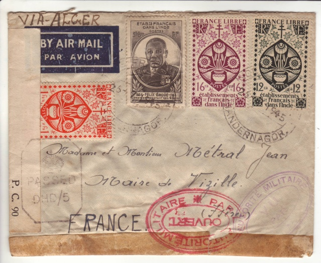 Censures des Etablissements Français dans l'Inde (EFI) pendant la 2° G.M. 45_07_10