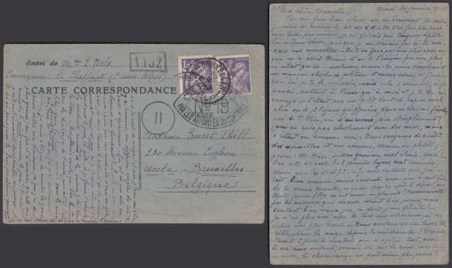 Les cachets de censure a N° (censure de l'armée) utilisés dès juillet 1944. Nc_19_10