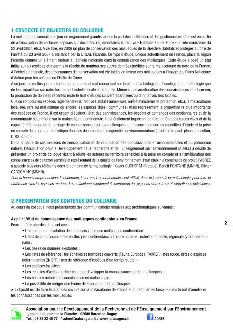 Colloque de malacologie continentale 30 & 31 mars 2016 Colloq12