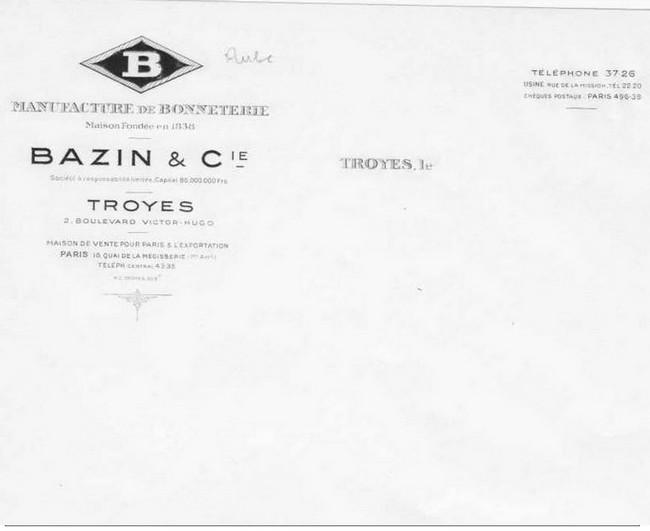 """Plomb de scelle """"Bazin et Compagnie - Manufacture de bonneterie - Troyes"""". Bazin11"""