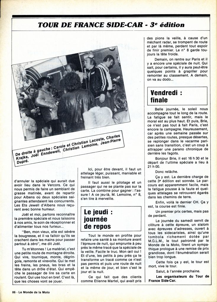 [Oldies] 1980 à 1988: Le Tour de France side-car, par Joël Enndewell  - Page 6 19830812