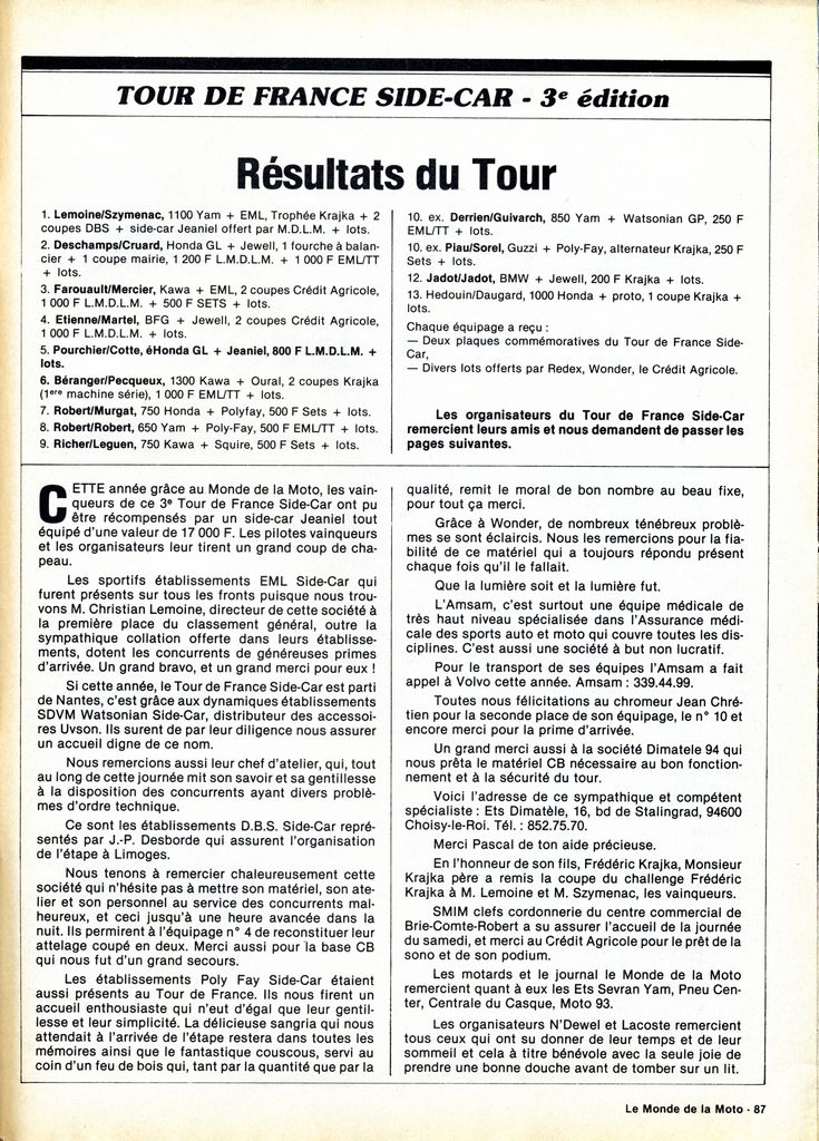 [Oldies] 1980 à 1988: Le Tour de France side-car, par Joël Enndewell  - Page 6 19830813