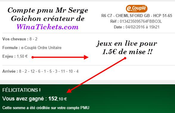 Compte Pmu De Mr Serge Goichon. 05-02-11