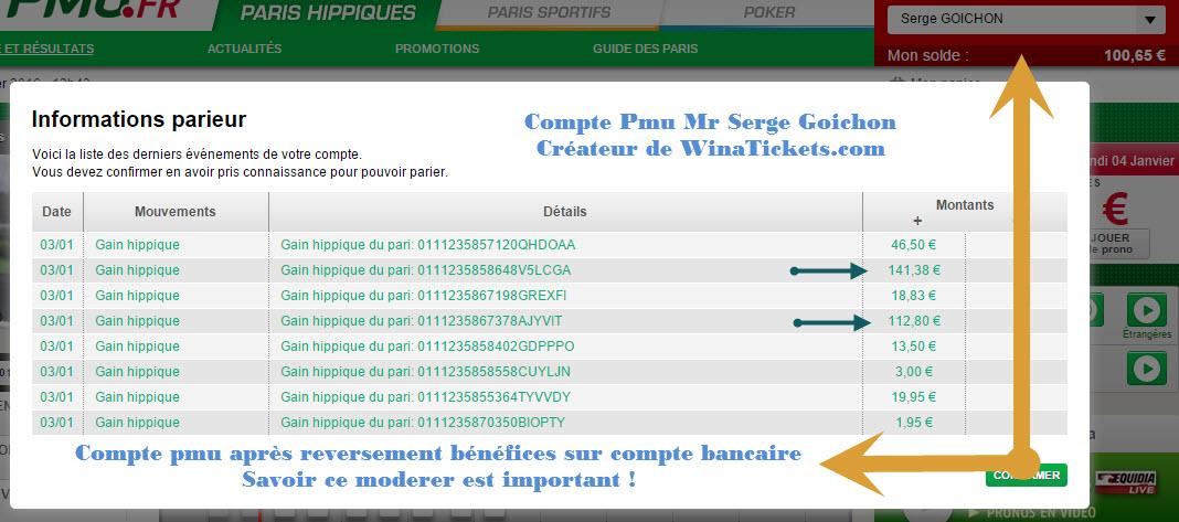 Compte Pmu De Mr Serge Goichon. 1810