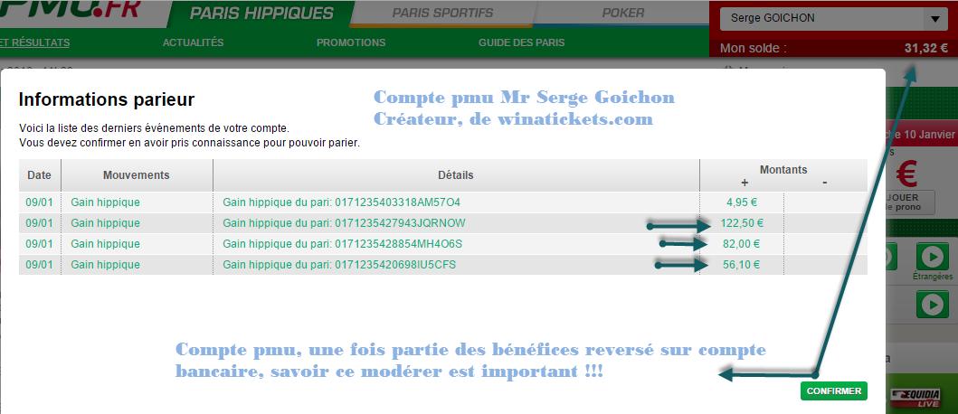Compte Pmu De Mr Serge Goichon. 2310