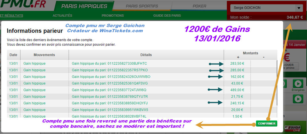 Compte Pmu De Mr Serge Goichon. 2910
