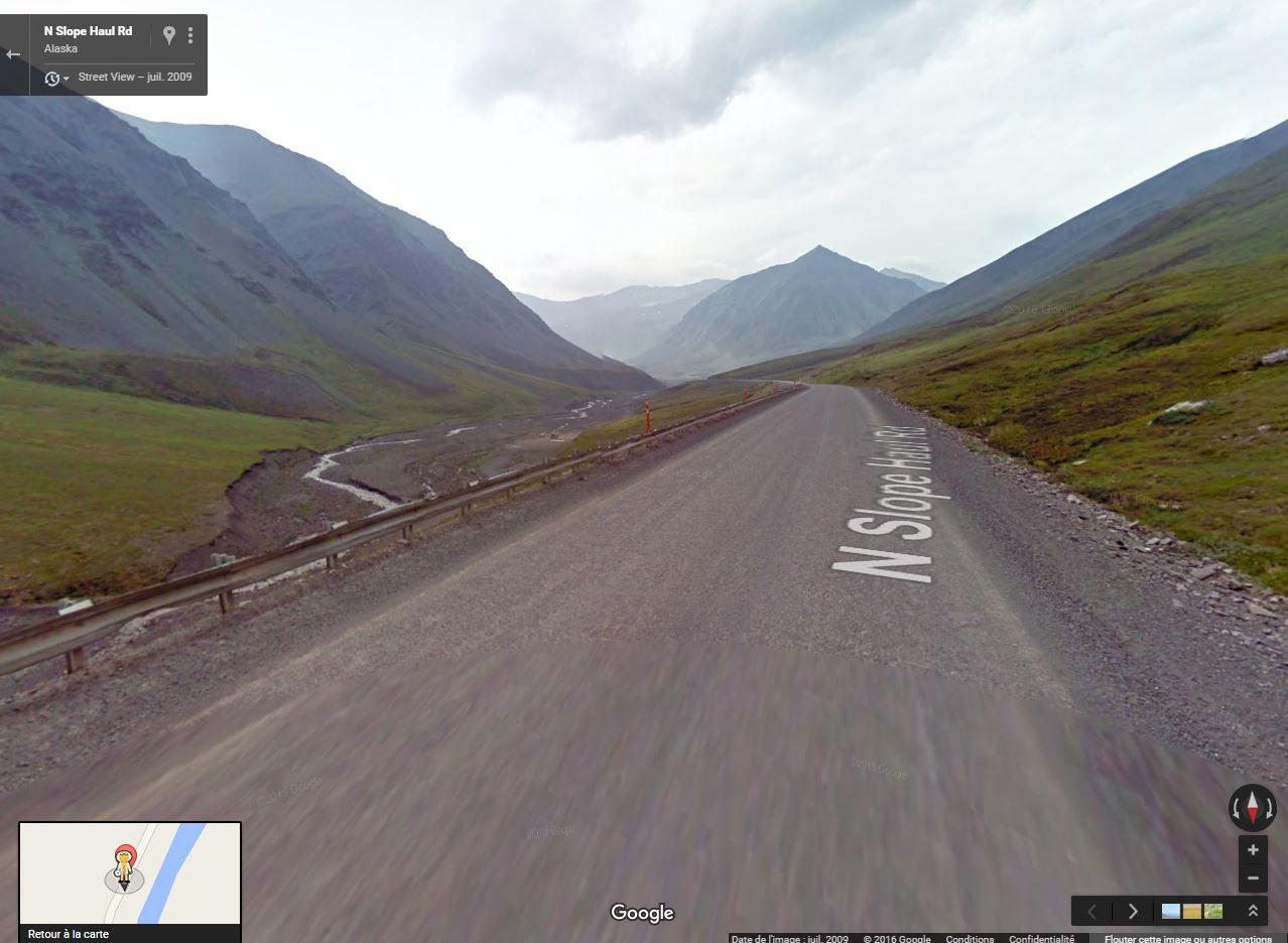 Street view: La route vers l'océan arctique. L'Alaska vu depuis la Dalton Highway. Alaska10