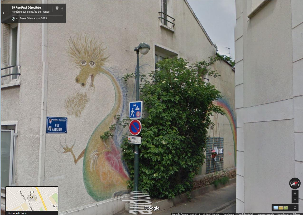 STREET VIEW: Le dragon de la Rue Baudoin à Asnières-sur-Seine Dragon10