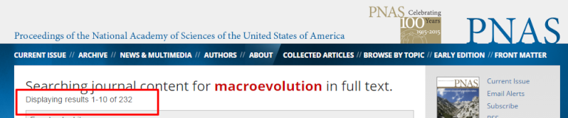 Science papers about macroevolution Macroe10